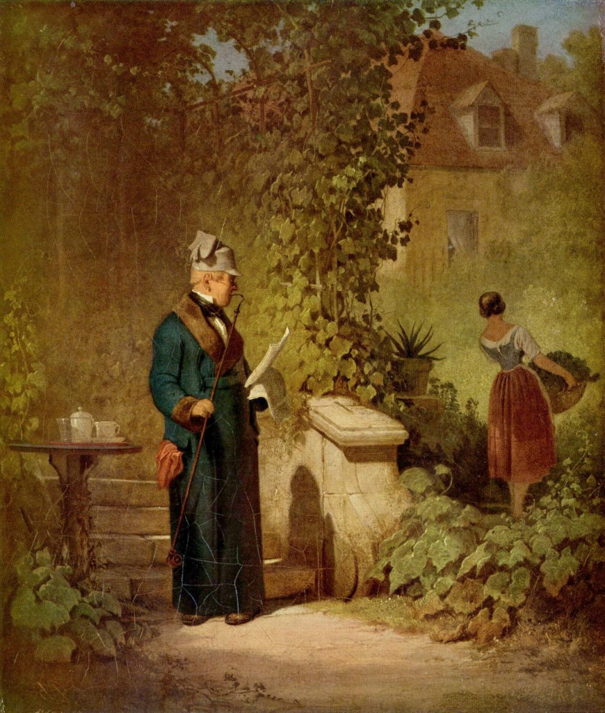Carl Spitzweg: Zeitungsleser im Garten, 1847