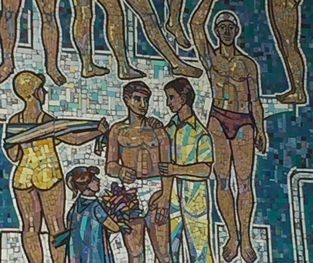 Ausschnitt aus einem Wandmosaik in der Magdeburger Elbeschwimmhalle.