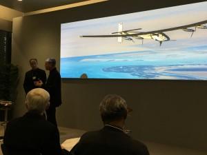 Bertrand Piccard und sein Partner auf dem WEF in Davos.