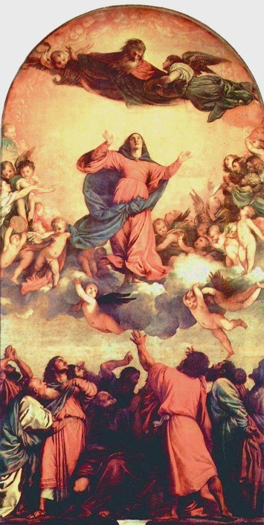 """Als """"ein Altarbild sondergleichen"""" rühmte Jacob Burckhardt Tizians zum Himmel auffahrende Maria: """"Die letzten irdischen Bande springen; sie atmet Seligkeit."""""""