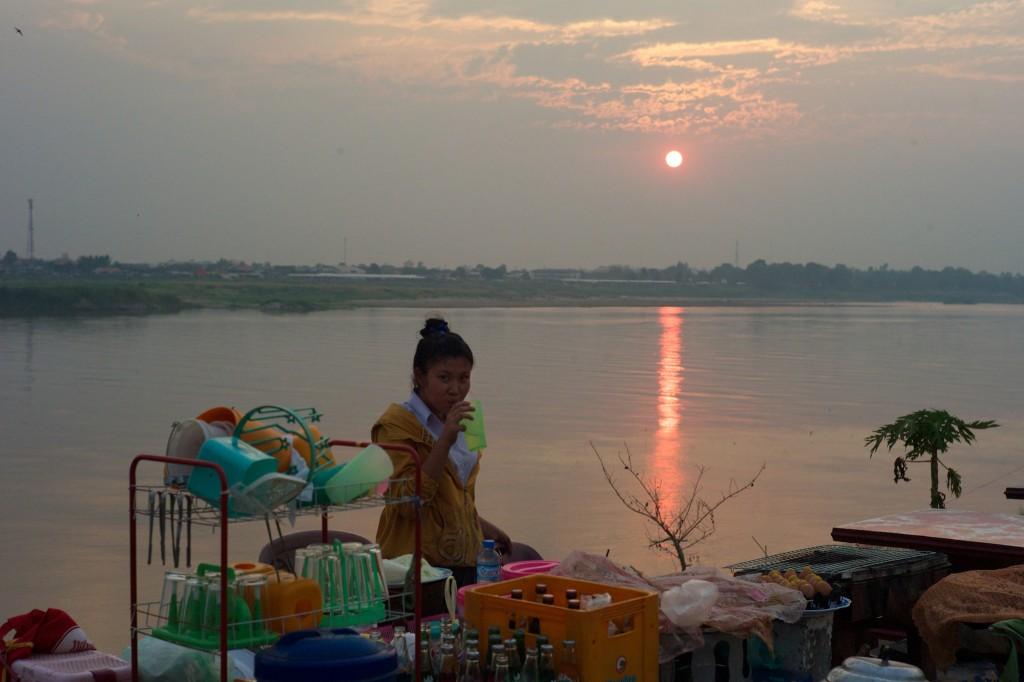 Futtermeile mit Sonnenuntergang