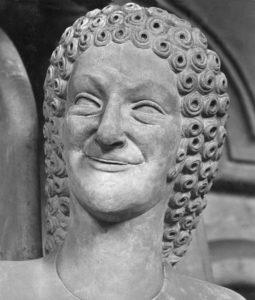 Engel im Bamberger Dom Bamberg, Dom, Engel am Chorschrankenpfl Bamberg, Dom. - Engel am Chorschrankenpfeiler des nördlichen Seitenschiffs. - Ausschnitt: Kopf. Statue, um 1220/40. |