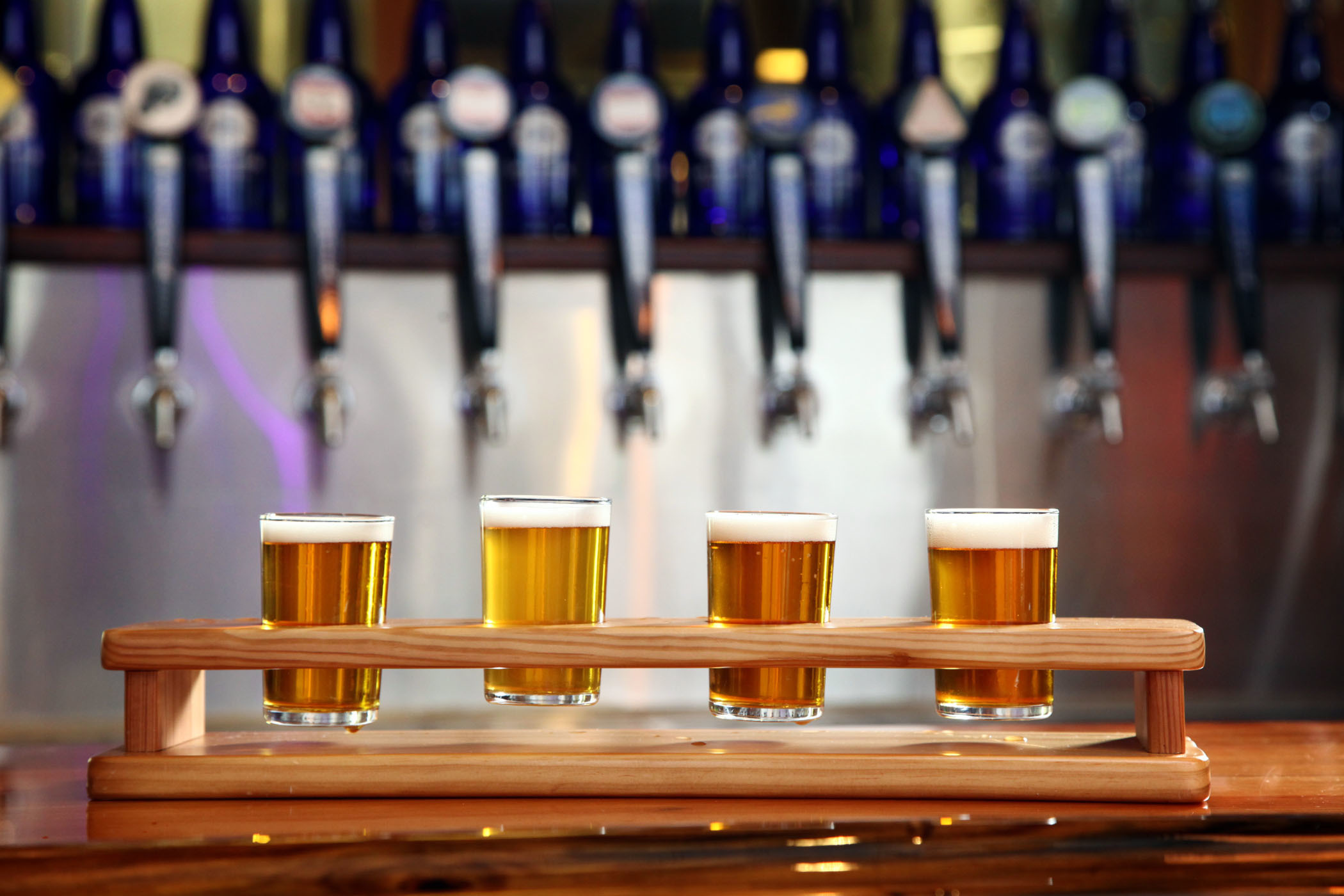 July 29, 2014 - Florida, U.S. - (Left to right) Southend Session, Screamin Reels IPA, Bone-A-Fied Blonde, and Spinytail Pale Ale at the SaltWater Brewery in Delray Beach on July 29, 2014 |