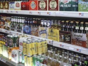 The beer section of a supermarket in New York on Thursday, January 15, 2009. The New York State Liquor Authority conducted an undercover investigation revealing that out of 911 stores in New York City 58 percent sold alcohol to under-age operatives. The age to purchase liquor in NYS is 21. |