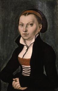 Katharina von Bora/ 1526, Cranach d.Ae. Bora, Katharina von, Ehefrau Martin Luthers, Lippendorf (Sachsen) 29.1.1499 - Torgau 20.12.1552. - Portraet. - Gemaelde, 1526, von Lucas Cranach d.Ae. (1472-1553). E: Katharina von Bora / Cranach / 1526 Bora, Katharina von, wife of Martin Luther, Lippendorf (Saxony) 29/1/149999 - Torgau 20/12/1552. - Portrait. - Painting, 1526, by Lucas Cranach the Elder (1472-1553). F: Bora, Katharina von , epouse de Martin L Bora, Katharina von , epouse de Martin Luther , Lippendorf (Saxe) 29.1.1499 - Torgau 20.12.1552.-Portrait. - Peinture, 1526, de Lucas Cranach l'Ancien (1472- 1553). |