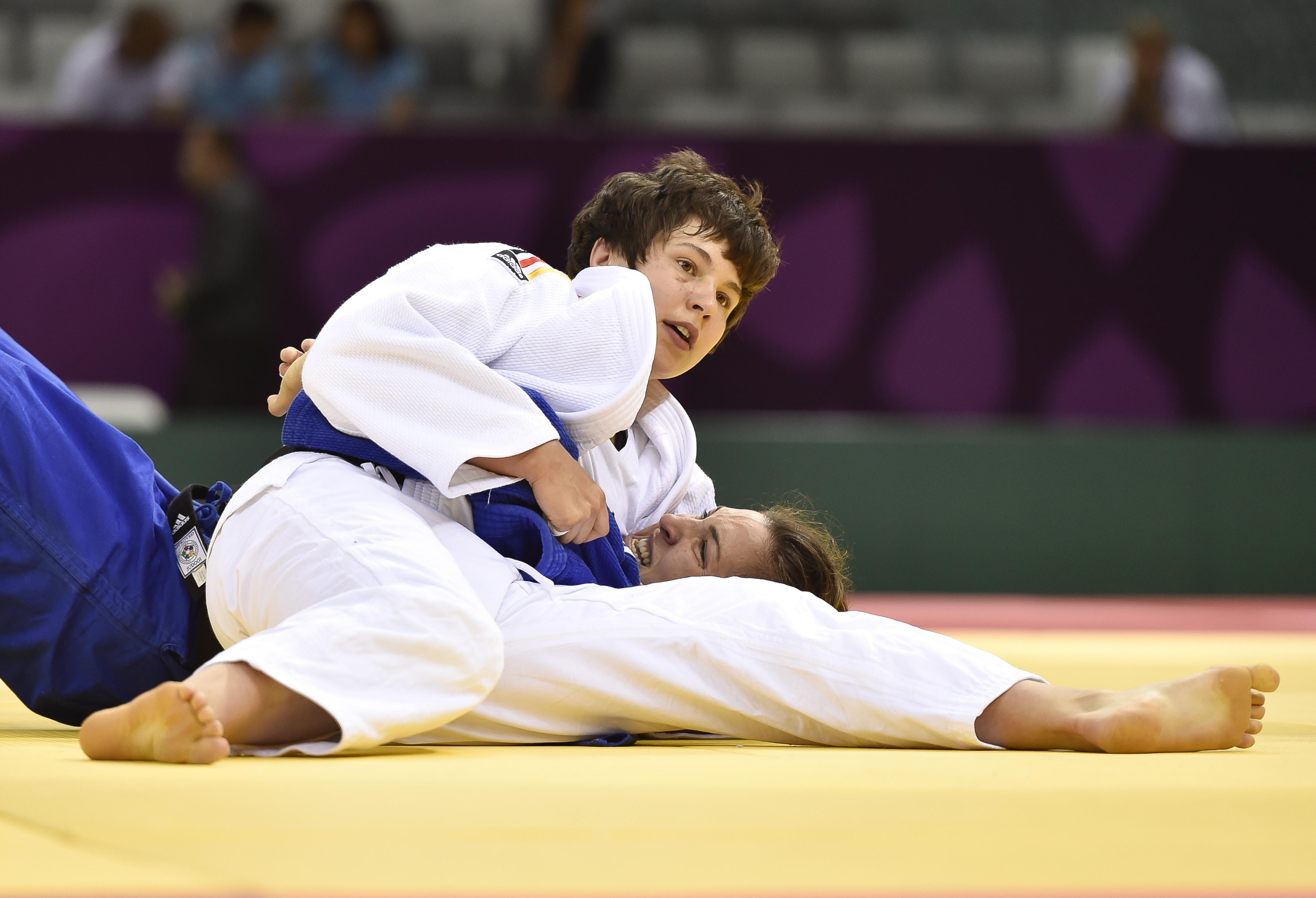 BAKU,AZERBAIJAN,24.JUN.15 - European Games Baku,Judo women-70kg. Image shows Laura Vargas Koch (GER) and Lior Wildikan (ISR). |