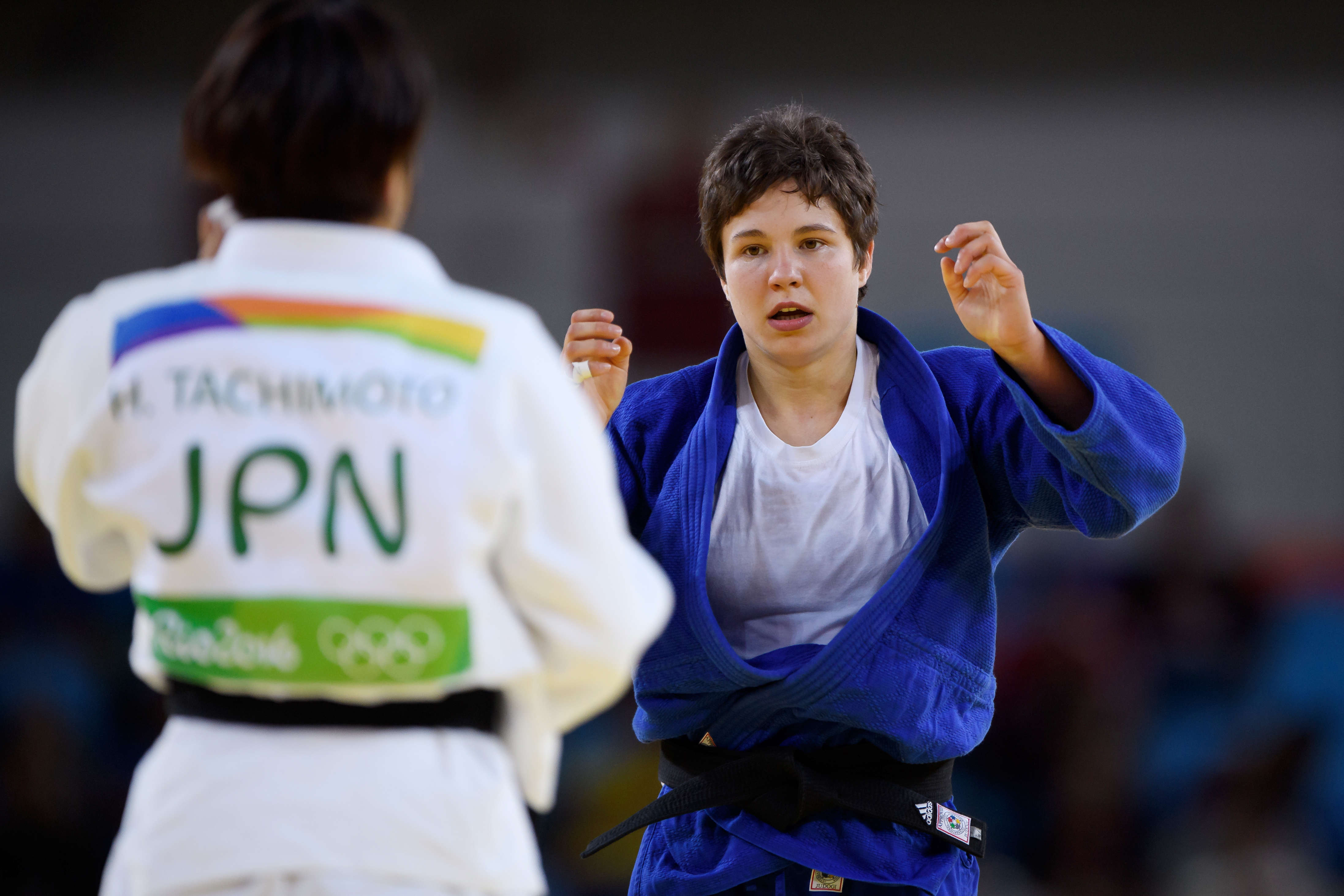 Halbfinale Frauen 70kg: Laura Vargas-Koch (GER, blau) gegen Haruka Tachimoto (JPN, weiß). GES/ Olympia 2016/ Judo, 10.08.2016 Olympics 2016: Judo, Rio de Janeiro, Brazil, August 10, 2016 | Verwendung weltweit
