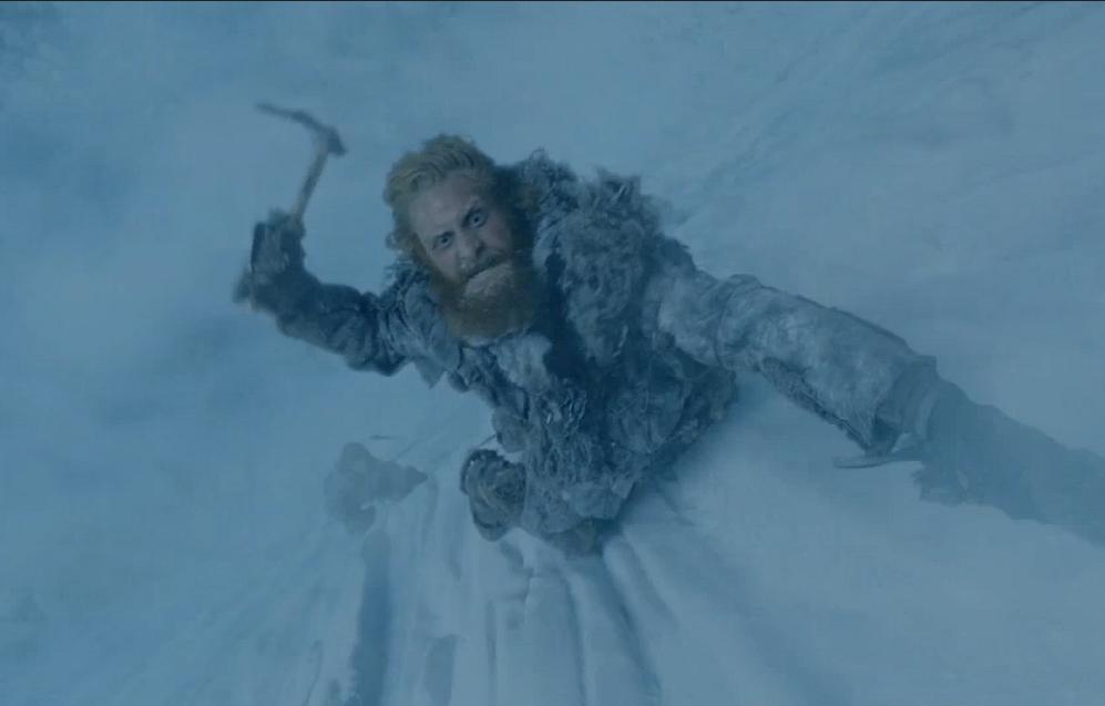 Der Wildling Tormund erklimmt die Mauer