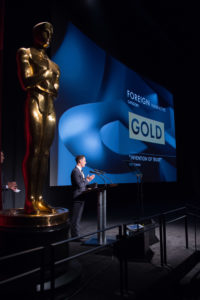 "Alex Schaad, winner of the gold medal in the foreign narrative film category for ""Invention of Trust,"" during the 43rd Annual Student Academy Awards® on Thursday, September 22, in Beverly Hills."