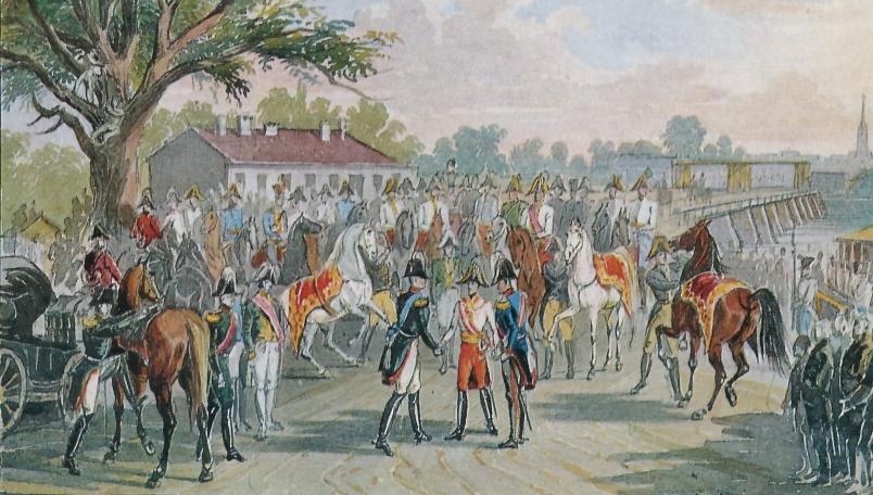 Die Welt soll sehen, dass gekrönte Häupter besonders leutselig sind: Kaiser Franz I. von Österreich begrüßt Zar Alexander I. von Russland und König Friedrich Wilhelm III. von Preußen an der Taborbrücke.