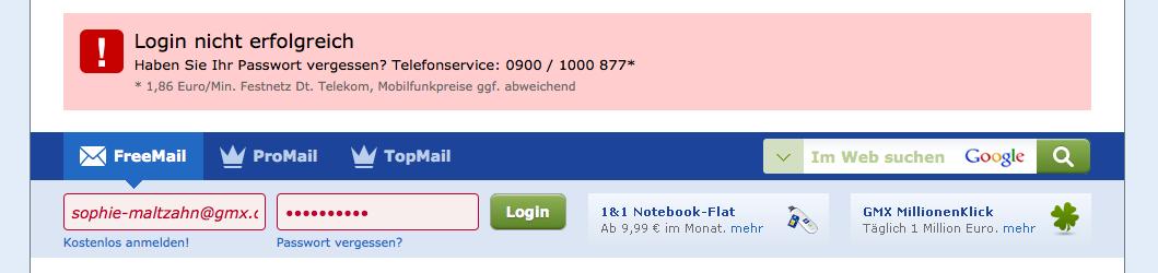 gmx passwort funktioniert nicht