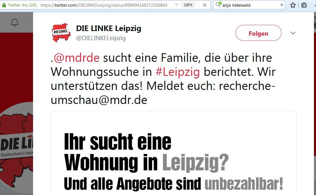 Der Verdacht Liegt Nahe: Offensichtlich Wusste Die Linke In Leipzig Vorab  Von Den Kommenden Dreharbeiten Zum Thema Mieten. Denn Am 18.