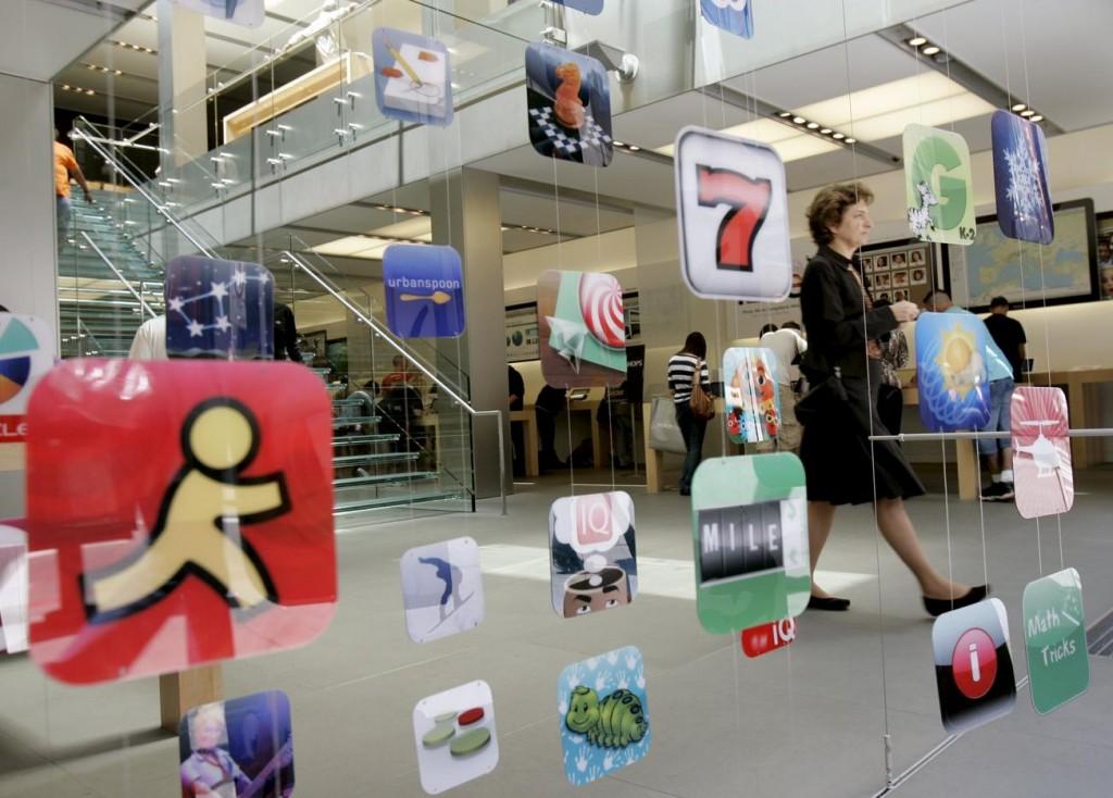 App-Icons in einem Apple Store in San Francisco.