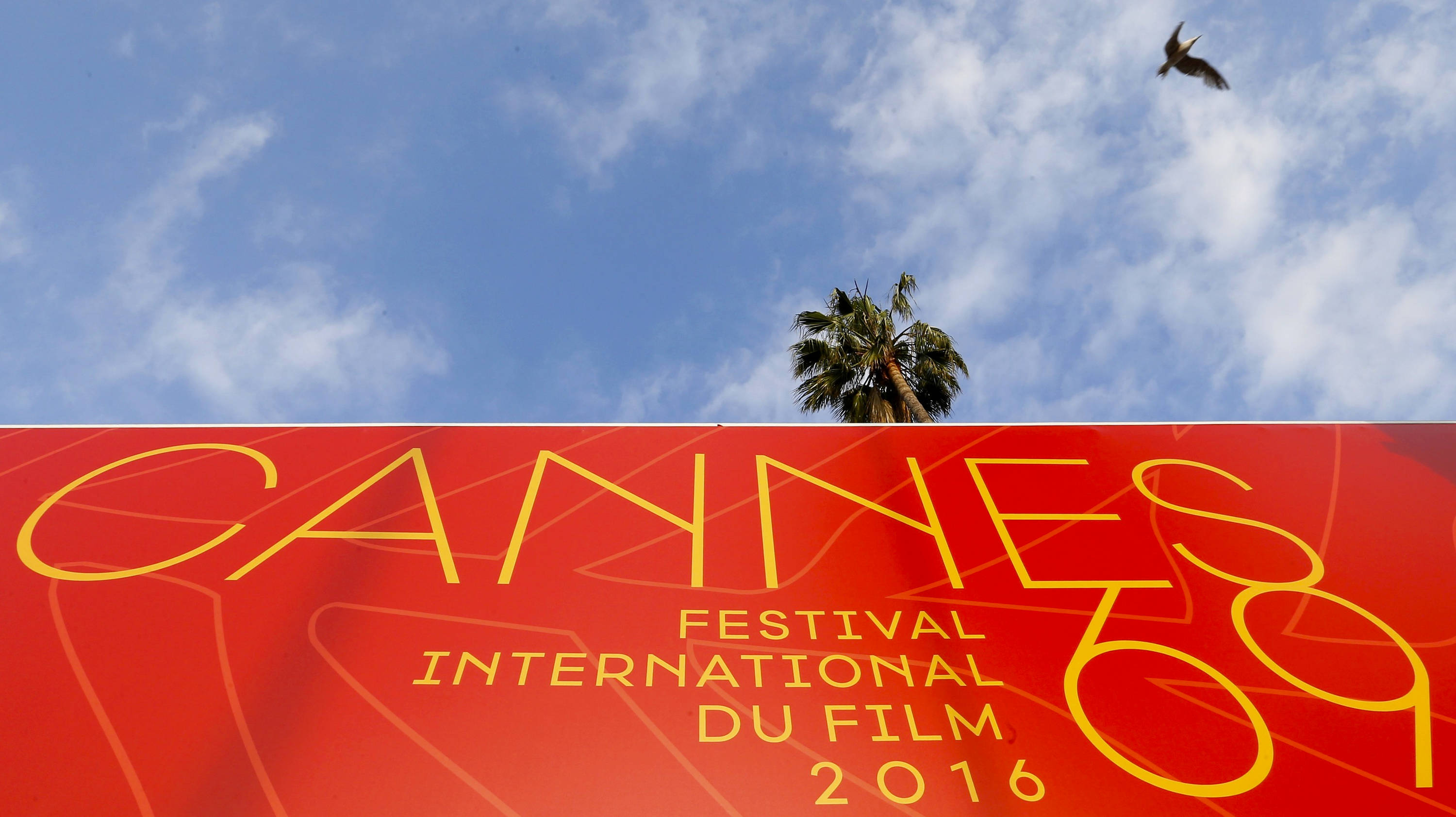 A palm tree is seen above an official poster of the 69th Cannes Film Festival on the Festival Palace in Cannes, France, May 10, 2016.  REUTERS/Yves Herman