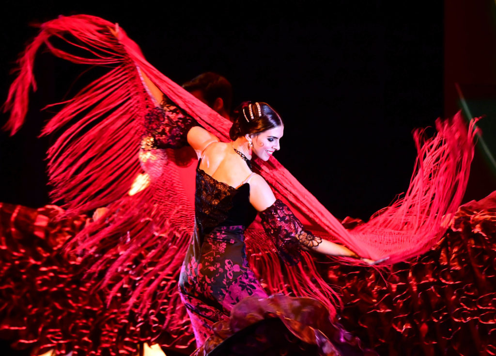 Flamenco dancer Zsofi Pirok of the 'Gyor Ballet' group performs on the stage of AUDI Arena of Gyor, Hungary, on December 10, 2016 during the premiere for a Christmas classical, the 'Nutcracker' of Russian composer Pyotr Ilyich Tchaikovsky's music, choreographed and directed by Hungarian Gyula Harangozo junior. / AFP PHOTO / ATTILA KISBENEDEK