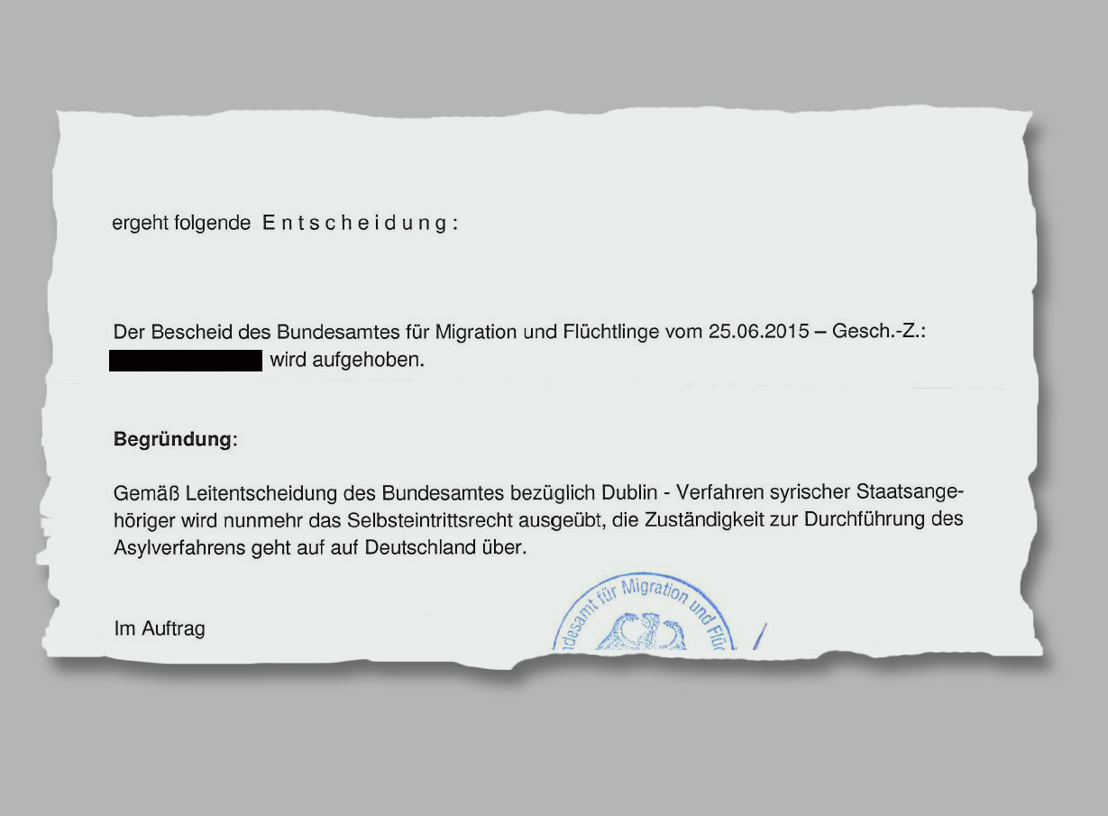 Ausriss aus dem Schreiben des Bundesamts für Migration und Flüchtlinge (Bamf)