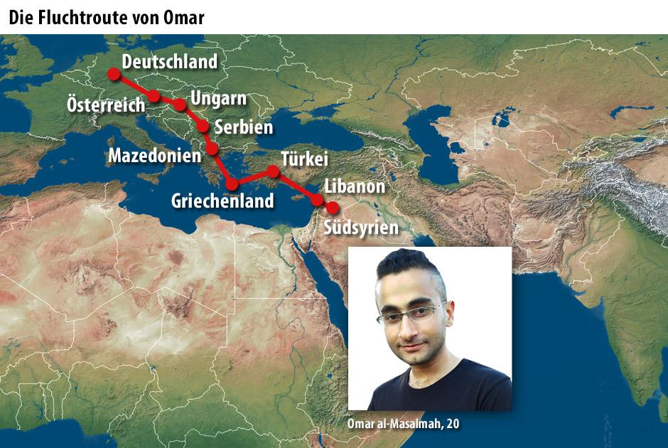 Die Fluchtroute von Omar