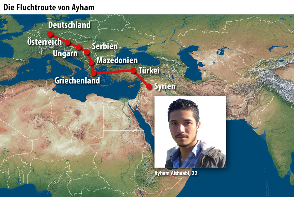Die Fluchtroute von Ayham Alshaabi