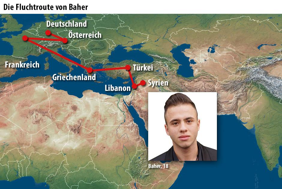 Die Fluchtroute von Baher
