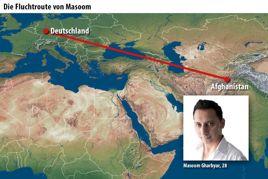 Die Fluchtroute von Masoom Gharibyar