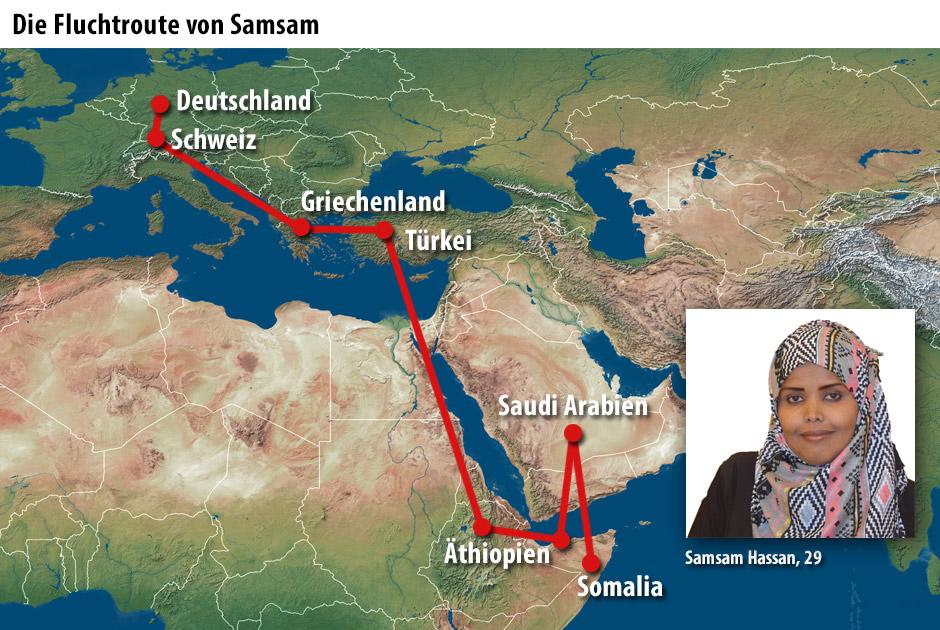 Die Fluchtroute von Samsam Hassan