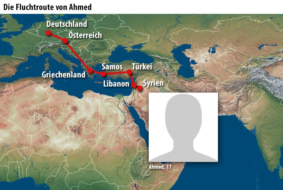 Die Fluchtroute von Ahmed
