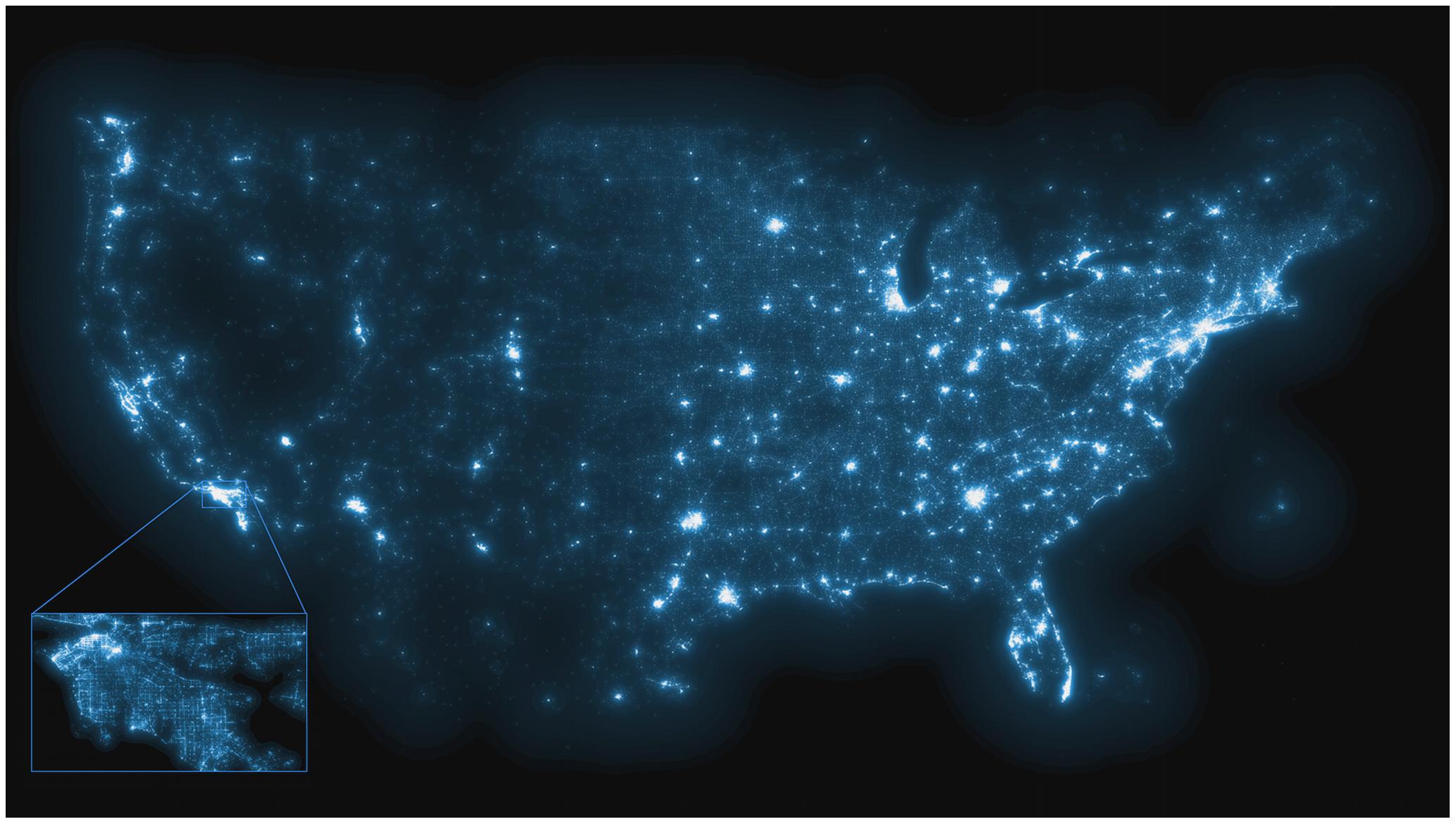 """Digitale Epidemiologie:  Zu sehen ist eine hochaufgelöste Karte, ermittelt durch Auswertung von 250 Millionen amerikanischer Tweets , die als """"impfkritisch"""" eingestuft wurden."""