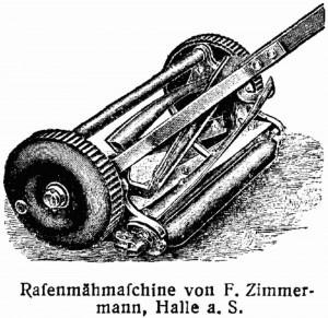 Ebenfalls drahtlos: historische Rasenmähmaschine.