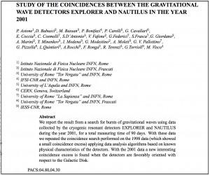 """War es eine Gravitationswelle? Eine der Veröffentlichungen einer """"Vielleicht-Detektion"""" der Wissenschaftler aus Frascati."""