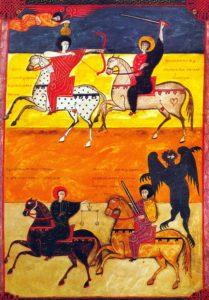 The Beatus of León is an 11th century illuminated manuscript of the Commentary on the Apocalypse by Beatus of Liébana. The manuscript was made for King Ferdinand 1 (c.1015-1065) and Queen Sancha of León. It contains 98 miniatures painted by Facundus. The Apocalypse of John is the Book of Revelation, the last book of the New Testament. [ Rechtehinweis: picture alliance/CPA Media ]