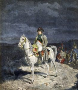 The Emperor Napoleon I of France on horseback 1814 - engraving after Meissonier. ©Bianchetti/Leemage [ Rechtehinweis: picture alliance/Leemage ]