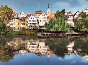 Idyll am Neckar mit Blick auf den Hölderlinturm